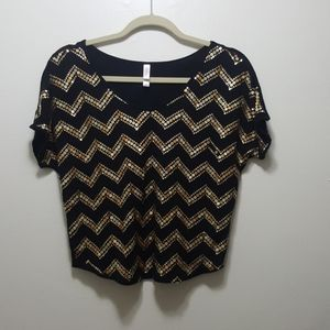 Xhilaration Black and Gold Sequin Crop Top